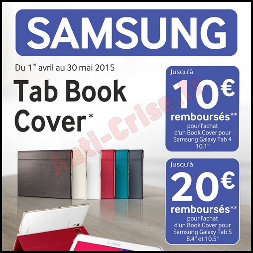 offre de remboursement odr samsung 20 sur tab book cover pour tablette galaxy. Black Bedroom Furniture Sets. Home Design Ideas