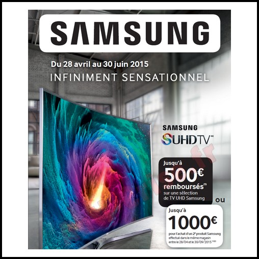 offre de remboursement odr samsung 1 000 sur t l viseur uhd. Black Bedroom Furniture Sets. Home Design Ideas