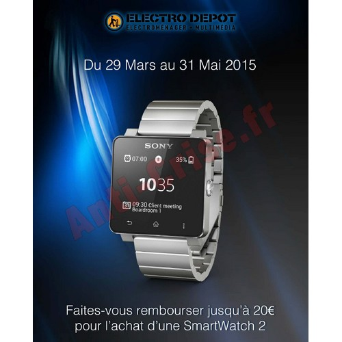 offre de remboursement sony electro d p t 20 sur montre connect e smartwatch 2. Black Bedroom Furniture Sets. Home Design Ideas