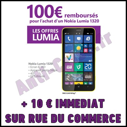 bon plan chez rue du commerce 110 sur smartphone nokia lumia 1320 catalogues promos bons. Black Bedroom Furniture Sets. Home Design Ideas
