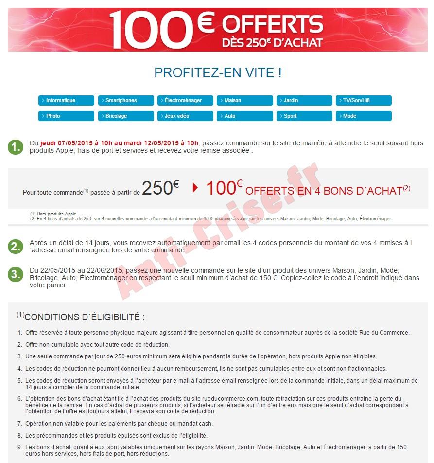Offre de remboursement odr rue du commerce 100 - Reduction rue du commerce frais de port gratuit ...