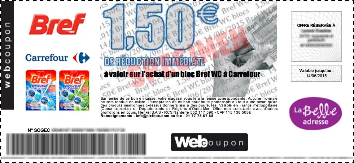 bon plan bloc bref wc gratuit chez carrefour. Black Bedroom Furniture Sets. Home Design Ideas