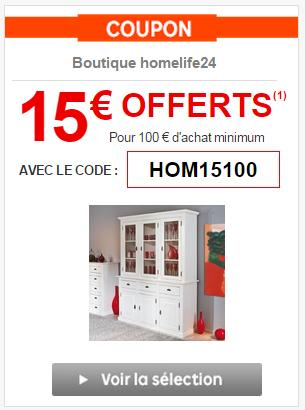 code promo priceminister 15 d s 100 sur la boutique homelife24. Black Bedroom Furniture Sets. Home Design Ideas