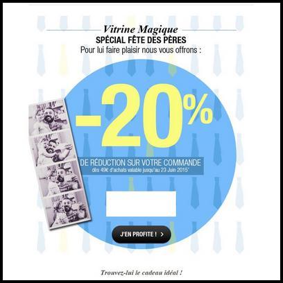 code promo vitrine magique 20 de r duction pour la f te des p res. Black Bedroom Furniture Sets. Home Design Ideas