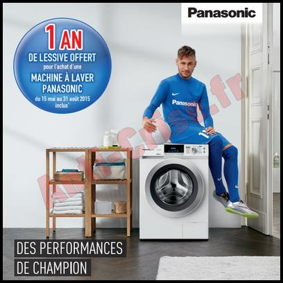 bon plan panasonic 1 an de lessive offert pour l achat d une machine laver. Black Bedroom Furniture Sets. Home Design Ideas