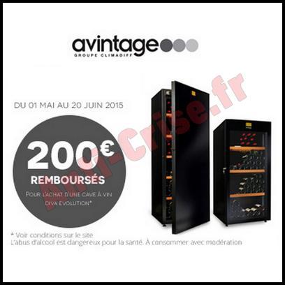 offre de remboursement avintage 200 sur caves diva evolution. Black Bedroom Furniture Sets. Home Design Ideas
