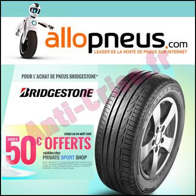 offre de remboursement allopneus 50 en code cadeau privatesportshop sur les pneus. Black Bedroom Furniture Sets. Home Design Ideas