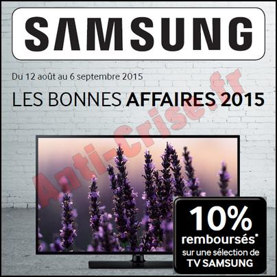 offre de remboursement samsung 10 sur les tv 06 09. Black Bedroom Furniture Sets. Home Design Ideas