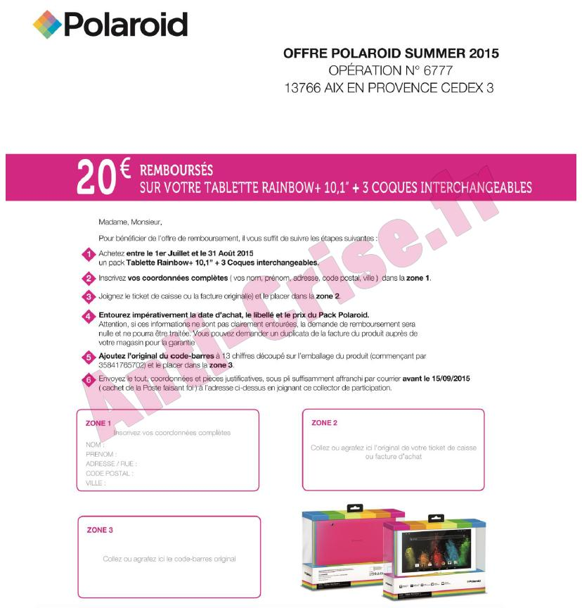 offre de remboursement polaroid 20 sur tablette rainbow 10 1 31 08. Black Bedroom Furniture Sets. Home Design Ideas