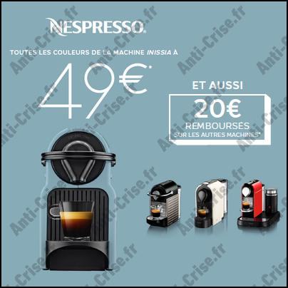 offre de remboursement nespresso machine caf inissia 49 et 20 sur les autres machines. Black Bedroom Furniture Sets. Home Design Ideas