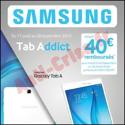 Offre de remboursement samsung 40 sur tablette galaxy - Offre de remboursement tablette samsung ...