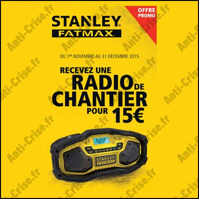 bon plan stanley radio de chantier pour 15 de plus. Black Bedroom Furniture Sets. Home Design Ideas
