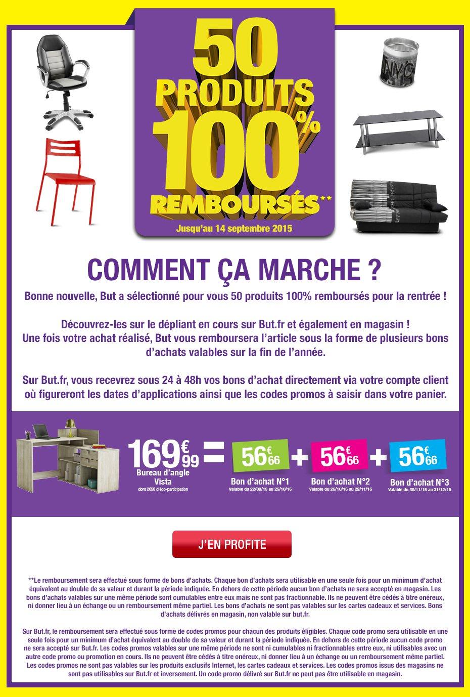 bon plan but 50 produits 100 rembours s en plusieurs bons. Black Bedroom Furniture Sets. Home Design Ideas