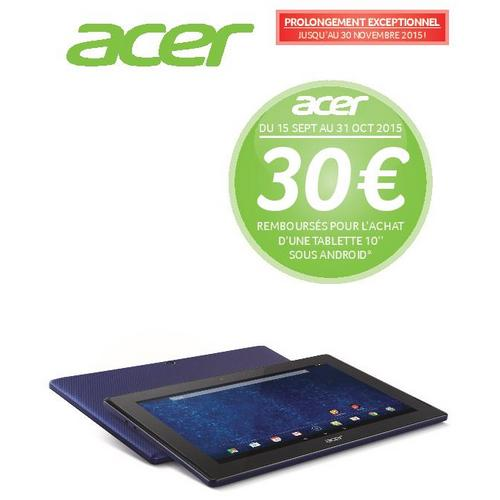 offre de remboursement acer 30 sur tablettes 10 andro d. Black Bedroom Furniture Sets. Home Design Ideas