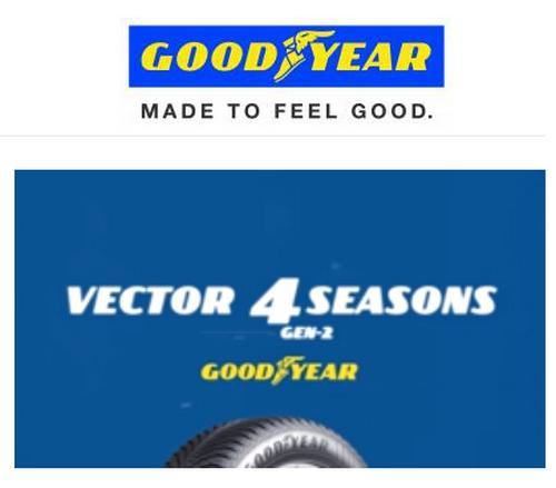 offre de remboursement goodyear 50 sur pneus vector 4 seasons catalogues promos bons plans. Black Bedroom Furniture Sets. Home Design Ideas