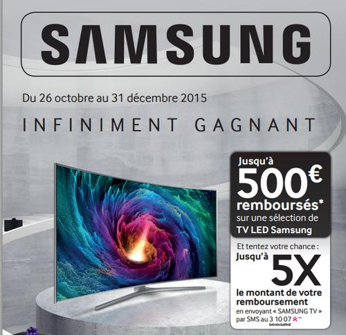 offre de remboursement samsung 500 sur une s lection de tv led jeu. Black Bedroom Furniture Sets. Home Design Ideas