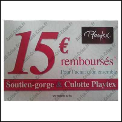 Offre de Remboursement Playtex : 15 € Remboursés pour l'achat d'un Ensemble - anti-crise.fr