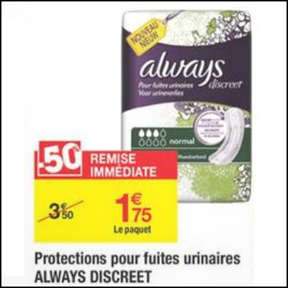 Bon Plan Always : Protections pour Fuites Urinaires Discreet Gratuites chez Carrefour - anti-crise.fr
