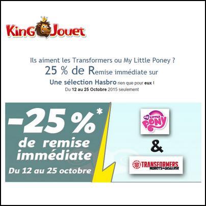Bon Plan King Jouet : 25 % de Remise immédiate sur My Little Poney et Transformers - anti-crise.fr