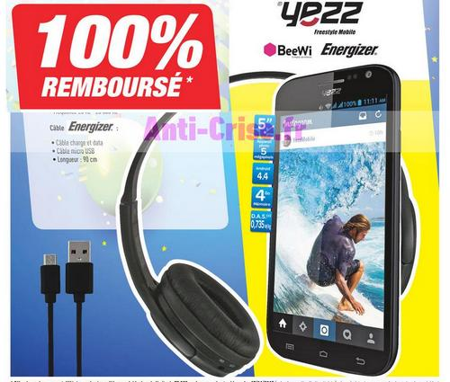pack yezz smartphone casque c ble 100 rembours chez carrefour. Black Bedroom Furniture Sets. Home Design Ideas