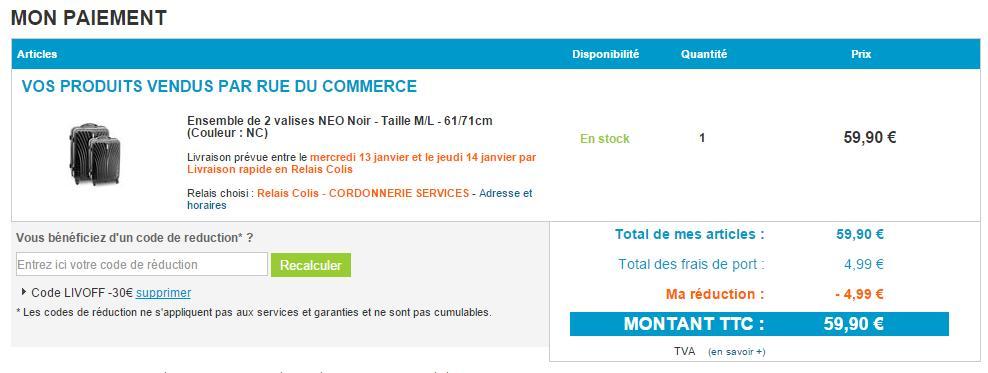 Bon plan rue du commerce 1 valise 28 pouces 1 valise - Code promo rue du commerce frais de port gratuit ...