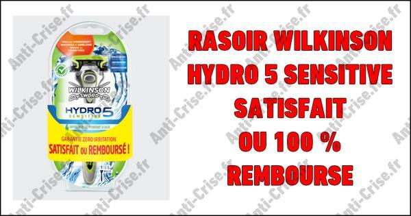 Offre de Remboursement Wilkinson : Rasoir Hydro 5 Sensitive Satisfait ou 100 % Remboursé - anti-crise.fr