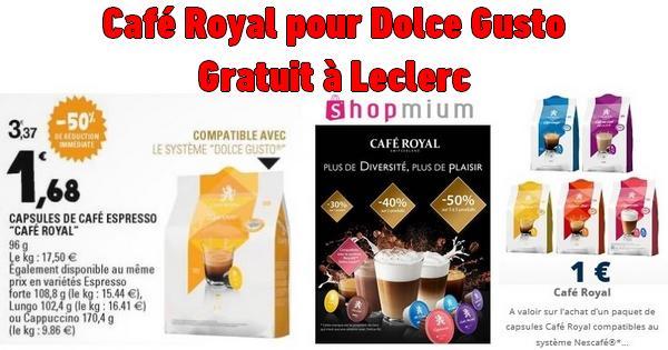 bon plan caf royal capsules pour dolce gusto gratuites chez leclerc catalogues promos. Black Bedroom Furniture Sets. Home Design Ideas