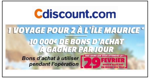 Instants Gagnants + Tirage au Sort Cdiscount : 2 040 Bons d'Achat à Gagner - anti-crise.fr