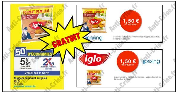 Bon Plan Iglo : Nuggets de Poulet Pack Familial Gratuit chez Carrefour - anti-crise.fr