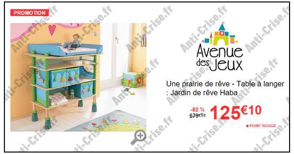 bon plan avenue des jeux table langer jardin de r ve haba 125 10 au lieu de 680. Black Bedroom Furniture Sets. Home Design Ideas