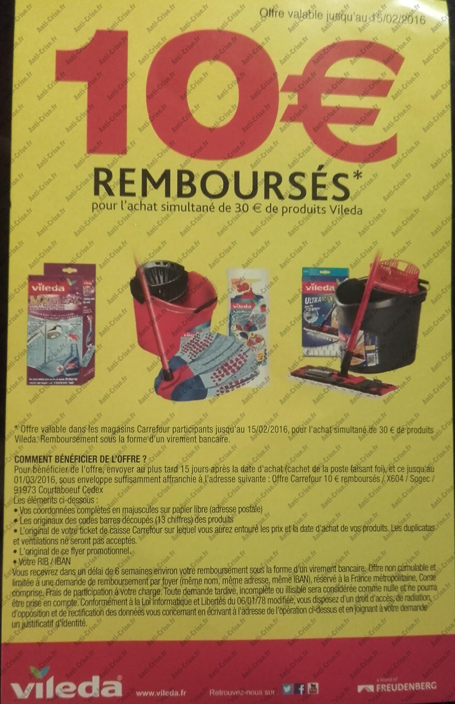 offre de remboursement vileda 10 rembours s catalogues promos bons plans economisez. Black Bedroom Furniture Sets. Home Design Ideas