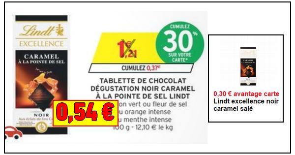 bon plan lindt tablette de chocolat noir caramel 0 54 chez intermarch catalogues promos. Black Bedroom Furniture Sets. Home Design Ideas