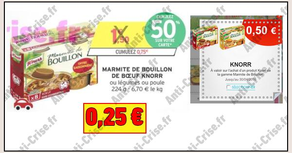 bon plan knorr marmite de bouillon 0 25 chez intermarch. Black Bedroom Furniture Sets. Home Design Ideas
