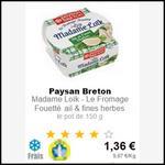 Bon Plan Paysan Breton : Fromage fouetté Mme Loïk à 0,36€ chez Intermarché - anti-crise.fr