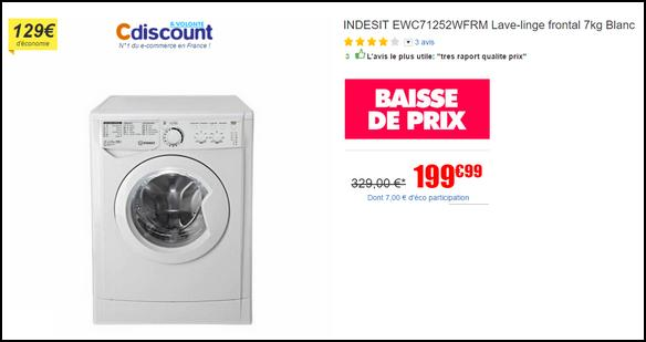 bon plan indesit lave linge ewc71252wfrm 7kg 200 chez cdiscount. Black Bedroom Furniture Sets. Home Design Ideas