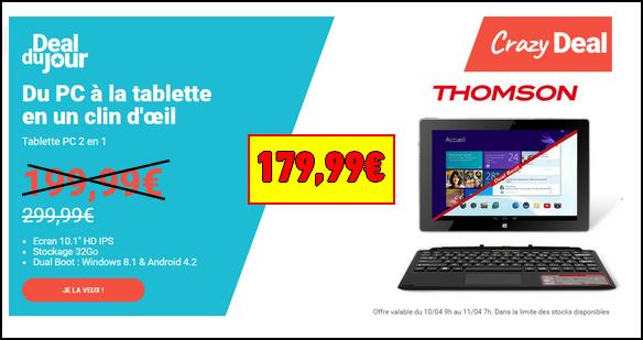 bon plan thomson tablette pc 2 en 1 180 avec le deal carrefour. Black Bedroom Furniture Sets. Home Design Ideas