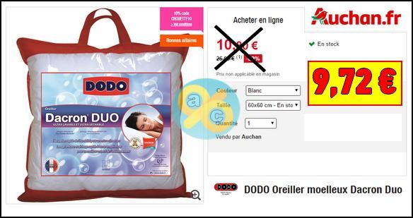 oreiller dacron duo Bon Plan Dodo : Oreiller 60×60 à 9,72€ au lieu de 26,99€ sur Auchan.fr oreiller dacron duo