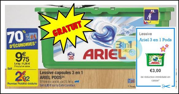 Bon Plan Ariel : La Boîte de 30 Capsules 3en1 Gratuite chez Carrefour - anti-crise.fr
