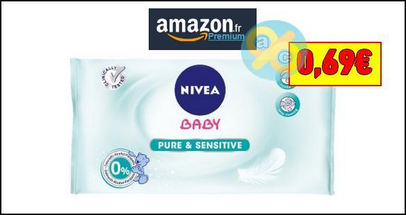 Bon Plan Nivea Baby : Le Paquet de 63 Lingettes Pure & Sensitive à 0,69€ chez Amazon - anti-crise.fr