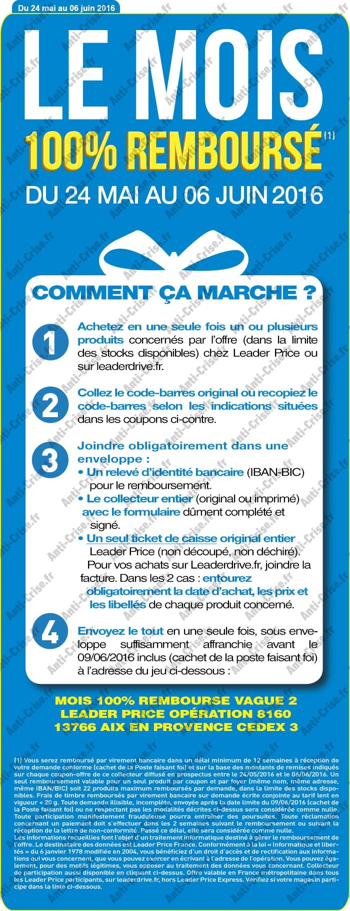 Leader price du 24 mai au 6 juin 22 produits 100 rembours s - Leader price salon de provence ...