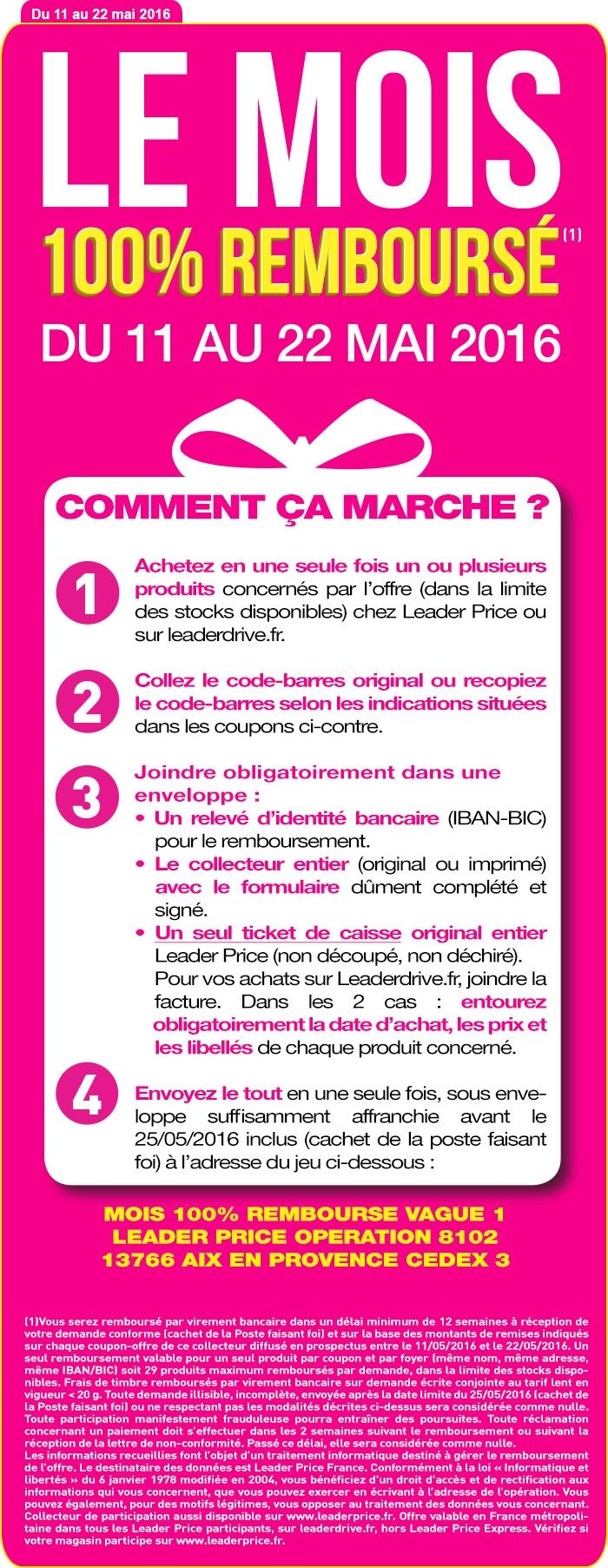 Leader price du 11 au 22 mai 29 produits 100 rembours s - Leader price salon de provence ...