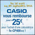 Offre de Remboursement Casio : Jusqu'à 25€ sur Calculatrice fx-CP400+E - anti-crise.fr