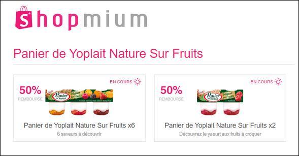 offre de remboursement shopmium 50 sur panier de yoplait nature sur fruits. Black Bedroom Furniture Sets. Home Design Ideas
