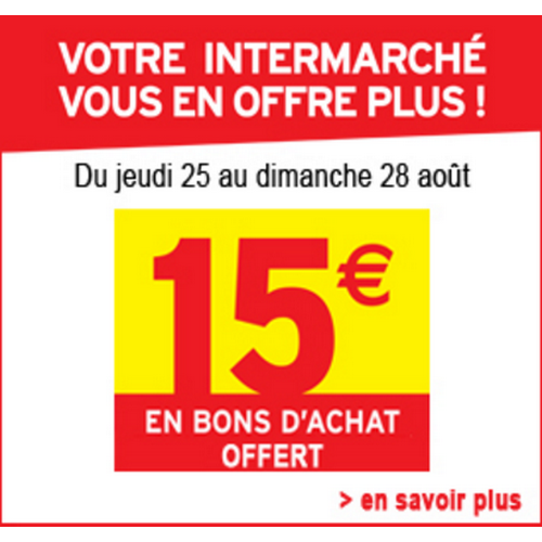 bon plan 15 offerts en bons d achat chez intermarch. Black Bedroom Furniture Sets. Home Design Ideas