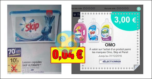Bon Plan Skip : Lessive Capsules Ultimate à 0,04€ chez Carrefour - anti-crise.fr