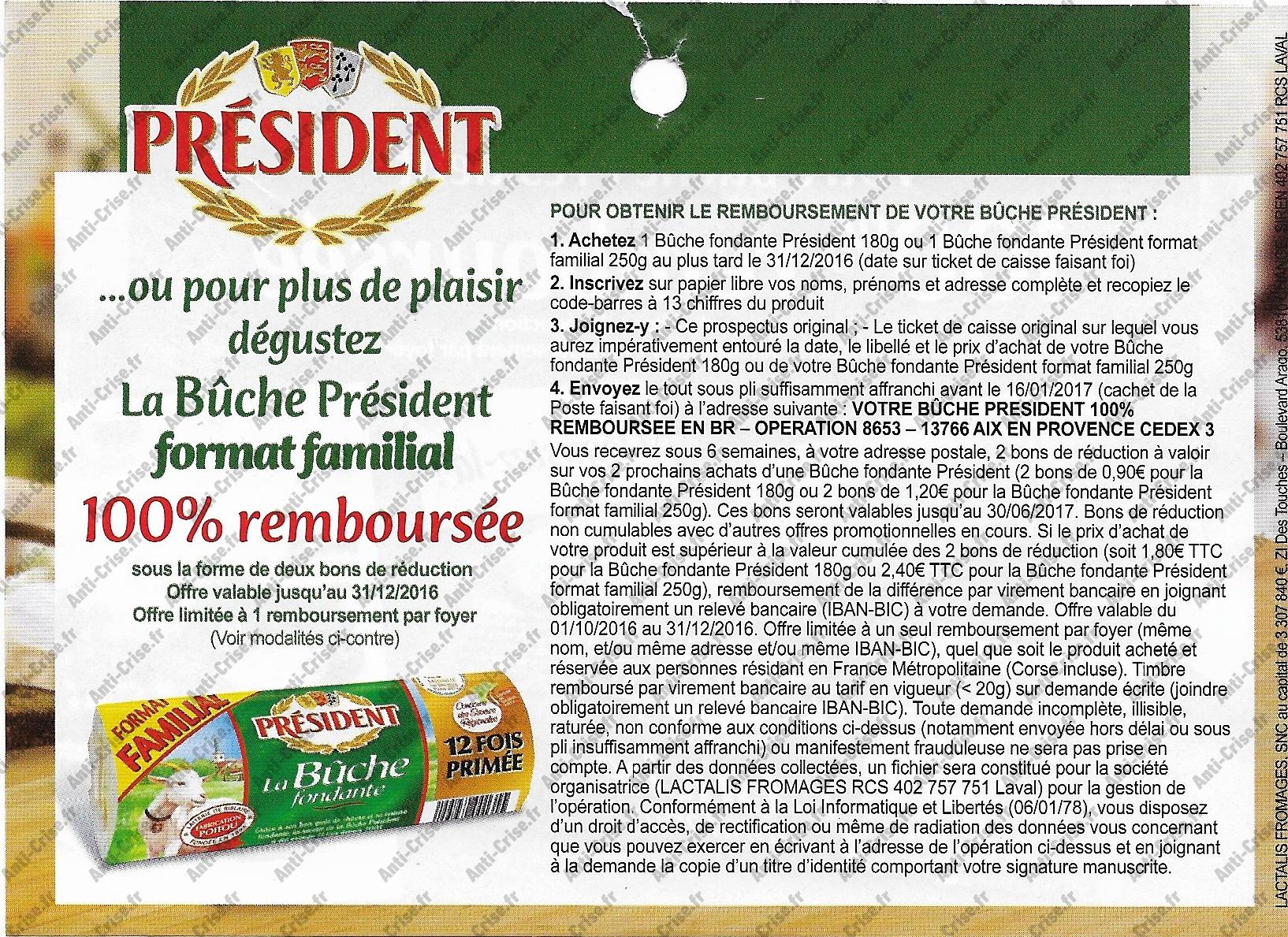 Offre de Remboursement Président : Bûche de Chèvre 100% Remboursée en 2 Bons - anti-crise.fr