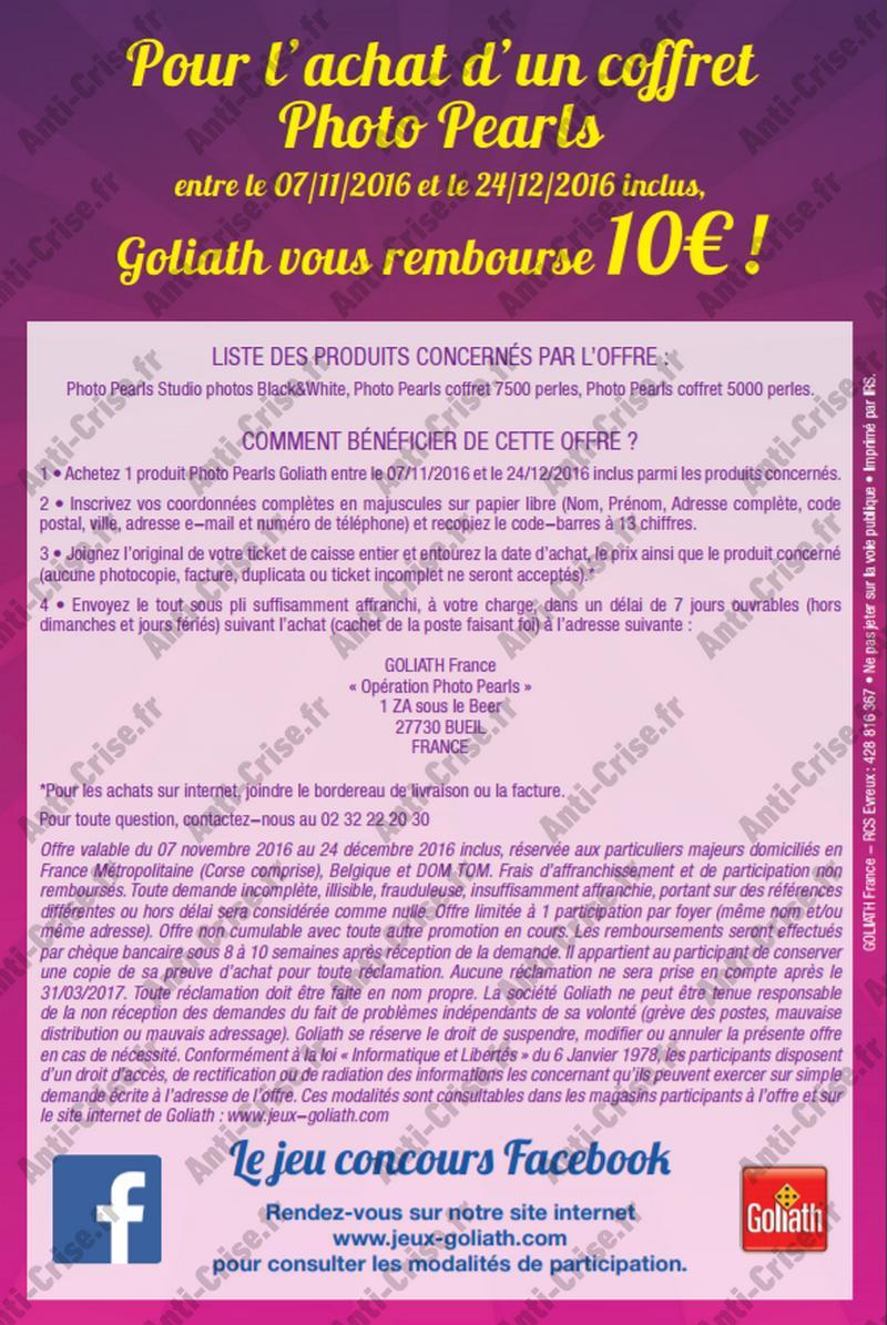 Modalités Goliath 10€ 2