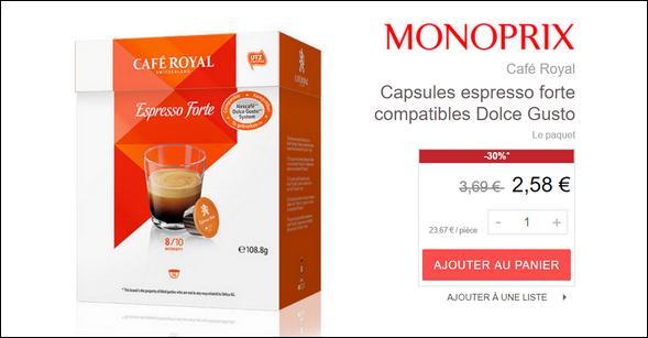 Bon Plan Capsules Café Royal pour Dolce Gusto chez Monoprix - anti-crise.fr