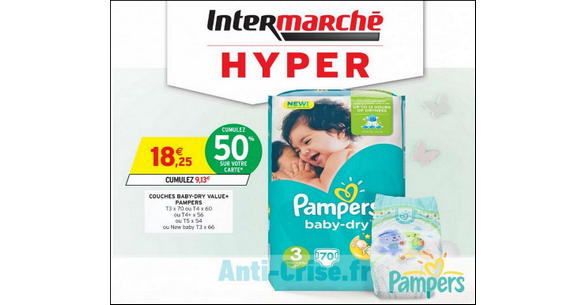 Bon plan couches pampers baby dry chez intermarch catalogues promos bons plans economisez - Reduction couches pampers a imprimer ...