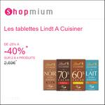 Offre de Remboursement Shopmium : Jusqu'à 40% sur Les tablettes Lindt A Cuisiner - anti-crise.fr